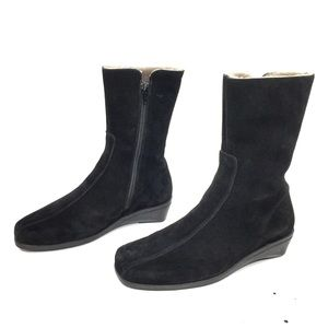 La Canadienne Black Shearling Mid-Calf Zip Boots